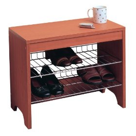9-Pair Wood-Finish Shoe Bench