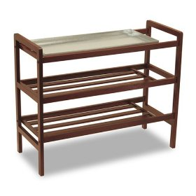 Mud Room Shoe Rack -3- shelves -1- Metal Tray for those wet shoes Antique Walnut Finish 140-302-03